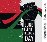 juneteenth arm up flag greeting ... | Shutterstock .eps vector #1987267916