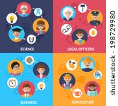 Teamwork people group decorative icons science legal officers business agriculture set flat isolated vector illustration