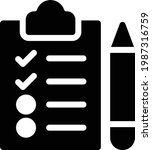 checklist vector glyph flat icon
