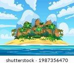 tropical island  rock mountains ... | Shutterstock .eps vector #1987356470