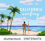 california surfing. tropical... | Shutterstock .eps vector #1987356476