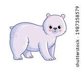 cute polar bear stands on a...   Shutterstock .eps vector #1987358579