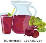 jug with beet juice  vitamin... | Shutterstock .eps vector #1987367219