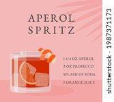 aperol spritz cocktail recipe.... | Shutterstock .eps vector #1987371173