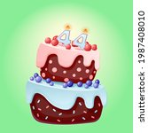 forty four years birthday cake... | Shutterstock .eps vector #1987408010