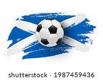 realistic soccer ball on flag... | Shutterstock .eps vector #1987459436