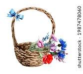 Wicker Basket With Wild Flowers....