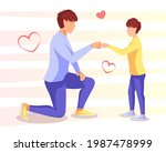 father and son give fists. dad... | Shutterstock .eps vector #1987478999