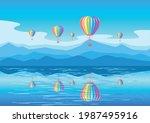aerostats of rainbow colors fly ... | Shutterstock .eps vector #1987495916