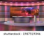 breaking news television studio ...   Shutterstock .eps vector #1987519346