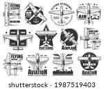 flying academy or pilot school...   Shutterstock .eps vector #1987519403
