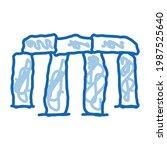 Stonehenge Sketch Icon Vector....