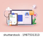 therapist on chat in messenger...   Shutterstock .eps vector #1987531313