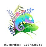 cute colorful exotic chameleon... | Shutterstock .eps vector #1987535153