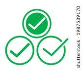 check mark green line icons....   Shutterstock .eps vector #1987539170