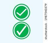 check mark green line icons....   Shutterstock .eps vector #1987540379