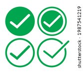 check mark green line icons....   Shutterstock .eps vector #1987541219