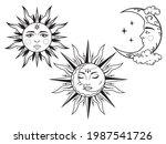 set of mystic sun and moon.... | Shutterstock .eps vector #1987541726