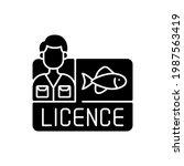 fishing licence black glyph... | Shutterstock .eps vector #1987563419