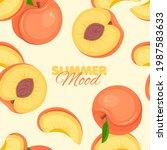 peach seamless pattern. summer...   Shutterstock .eps vector #1987583633