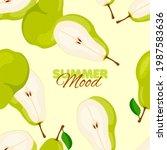 pear seamless pattern. summer...   Shutterstock .eps vector #1987583636