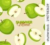 green apple seamless pattern....   Shutterstock .eps vector #1987583639