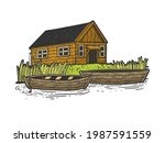 fishing lodge house with boats...   Shutterstock .eps vector #1987591559