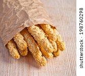 bread sticks grissini with... | Shutterstock . vector #198760298
