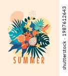 summer banner template. vector... | Shutterstock .eps vector #1987612643