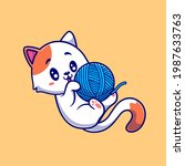 Cute Cat Playing Yarn Ball...