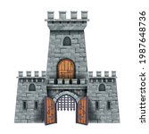 Stone Castle Tower  Vector...