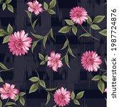 seamless flower pattern on nay  ... | Shutterstock .eps vector #1987724876