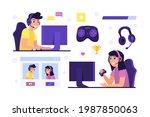 game streamer elements. digital ...   Shutterstock .eps vector #1987850063