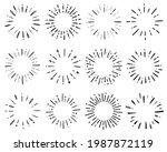 hand drawn set of sunburst... | Shutterstock .eps vector #1987872119