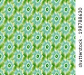 Pale Blue Green and White Flower tiled / A digital abstract fractal image with a tiled flower design in pale blue, green and white. - stock photo