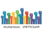 group of fists raised in air.... | Shutterstock .eps vector #1987921649