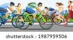 the girls are running. guys... | Shutterstock .eps vector #1987959506