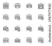 burger and sandwich menu line... | Shutterstock .eps vector #1987977830