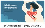 sleeping woman landing page... | Shutterstock .eps vector #1987991450