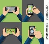 hands holding touchscreen... | Shutterstock .eps vector #198802364