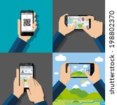 hands holding touchscreen... | Shutterstock .eps vector #198802370