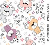 cute teddy bear with flower... | Shutterstock .eps vector #1988057216