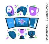 game streamer elements. digital ...   Shutterstock .eps vector #1988066900