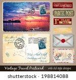 travel vintage postcard design... | Shutterstock .eps vector #198814088