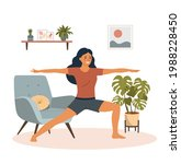 fitness young woman in yoga ... | Shutterstock .eps vector #1988228450