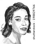 cg painting girl head hand draw | Shutterstock . vector #198829766