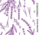 lavender seamless pattern.... | Shutterstock .eps vector #1988303813