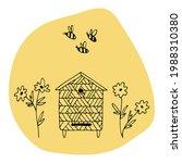 vector hive  bees  flowers.... | Shutterstock .eps vector #1988310380