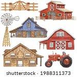 Watercolor Barns Clipart. Farm...