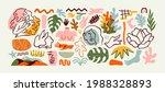 set of trendy doodle and... | Shutterstock .eps vector #1988328893